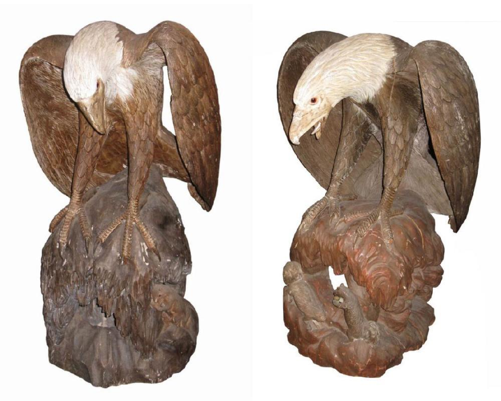 Pair Monumental Antique Japanese Meiji Carved Wooden Bald Eagle Sculptures