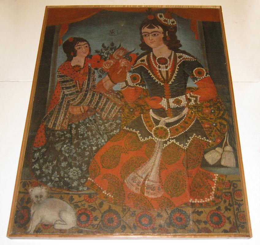 Qajar Persian Oil Painting Depicting Courting Prince