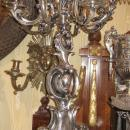 Pair Antique Silvered Bronze French Rococo Louis XV Style Candelabra