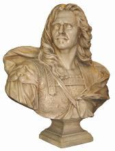French Louis XIV General Henri de la Tour d'Auvergne Bust Sculpture After Derbais