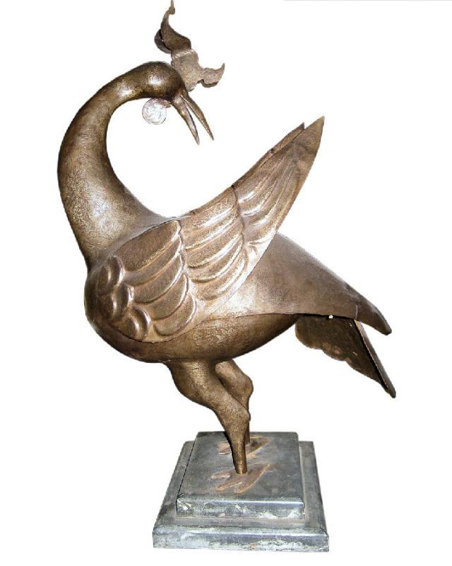 Antique Middle Eastern Arabic Islamic Qajar Persian Metal Cockerel Bird Sculpture