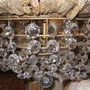 Antique French Louis XVI Style Beaded Crystal Gilt Brass Chandelier