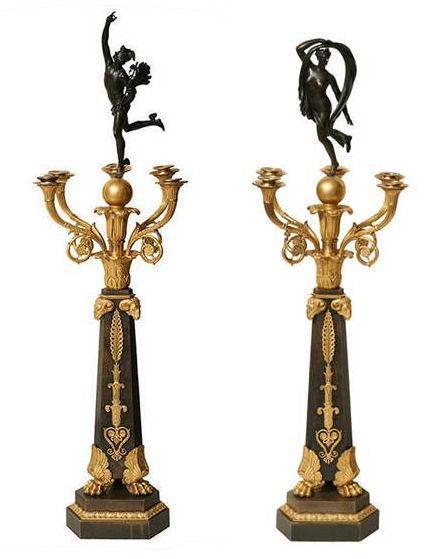 Pair Antique French Empire Ormolu Bronze Candelabra After Giambologna