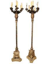 Pair Antique Renaissance Style Torchiere Torchere Candelabra