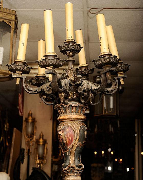 Pair Antique Renaissance Style Torchiere Torchere Candelabra
