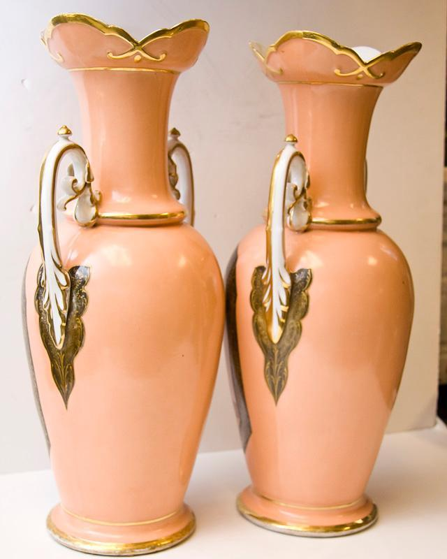 Pair Tall Antique French Paris Porcelain Neoclassical Vases