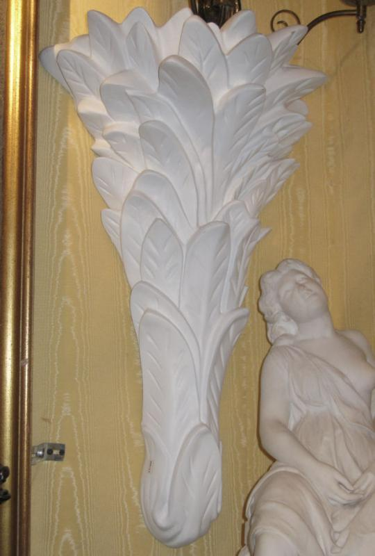 Pair Plaster Palm Form Sconces After Serge Roche