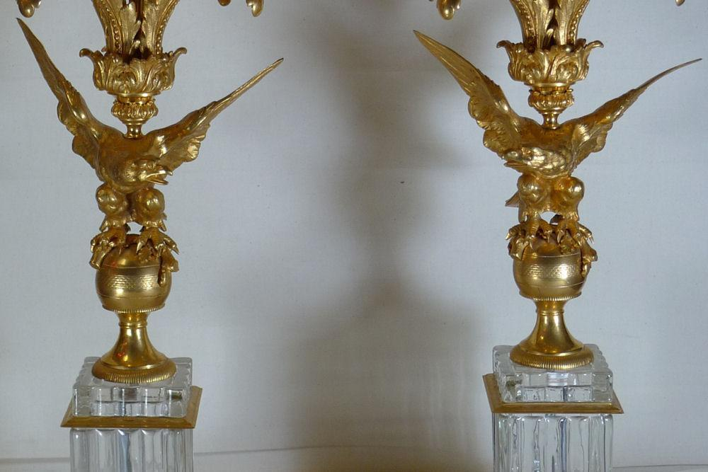 Pair Louis XV Federal Regency Style Gilt Bronze Candelabra with Eagles