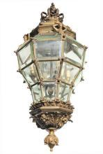 Antique French Louis XV Style Bronze Metal Lantern Chandelier
