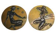 McClelland Barclay Art Deco Patinated Metal Plaques