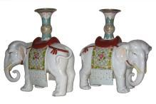 Pair Antique Chinese Elephant Joss Stick Holders / Candlesticks