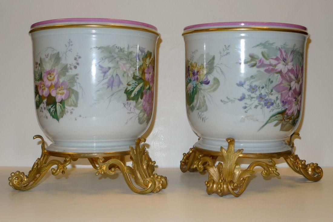 Pair Antique French Louis XV Style Ormolu Mounted Porcelain Cachepots Pots Vases