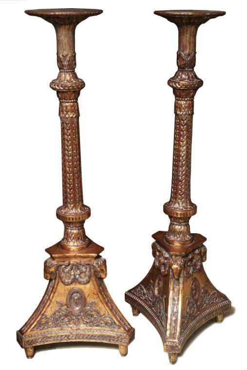 Pair Regency Style Parcel Gilt Torchieres Pedestals or Plant Stands