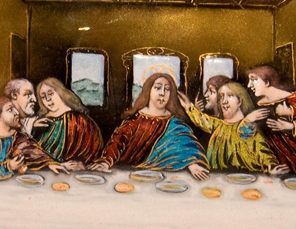 Antique French Enamel Plaque Depicting Jesus Last Supper