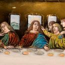 Antique French Enamel Plaque Depicting Jesus Last Supper