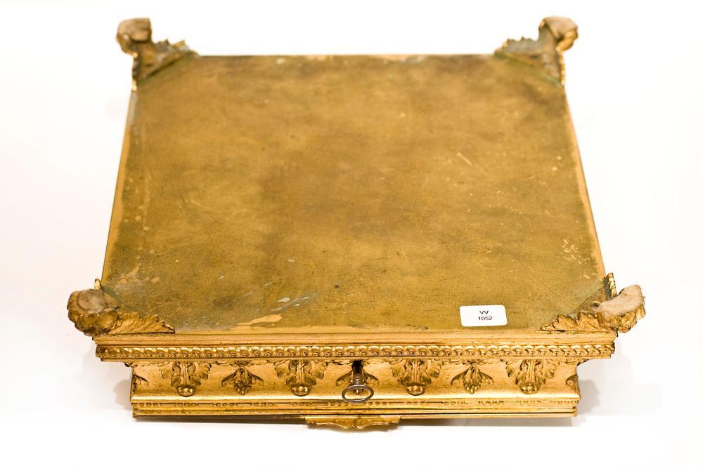 Antique Romantic French Gilt Bronze Jewelry Casket Dresser Box
