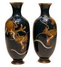 Pair Antique Japanese Cloisonne Enamel Dragon Vases