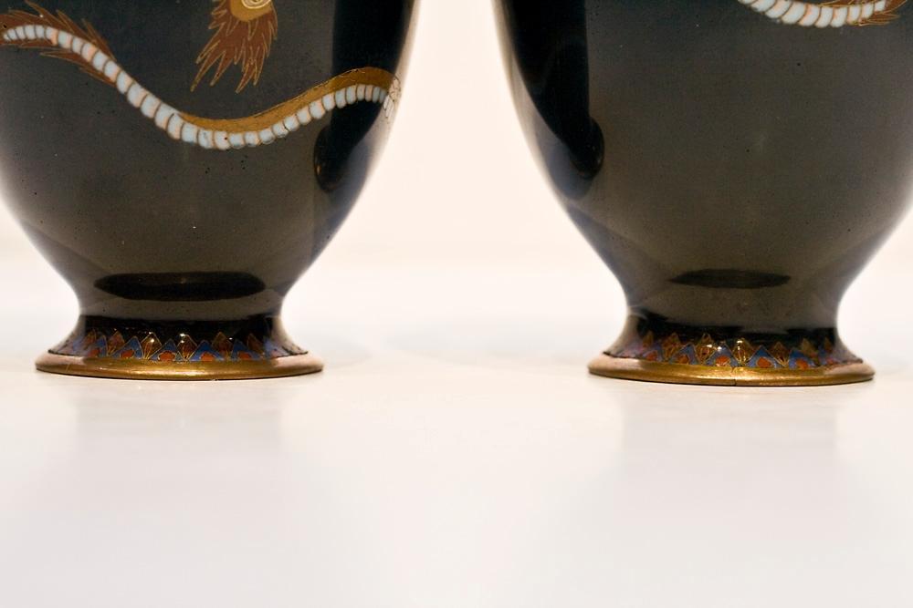 Pair Antique Japanese Cloisonne Enamel Dragon Vases