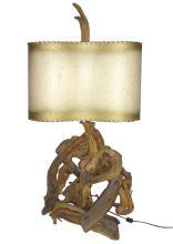 Mid-Century Modern Vintage Driftwood Lamp with Original Vellum Shade