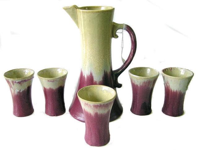Fulper Arts & Crafts Chocolate Pot Set