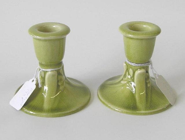 c1946 Rookwood Green Candlesticks