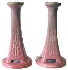 Pair '20 Rookwood Red Glaze Candlesticks