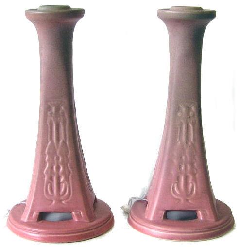 Pair '20 Rookwood Red Glaze Candlesticks