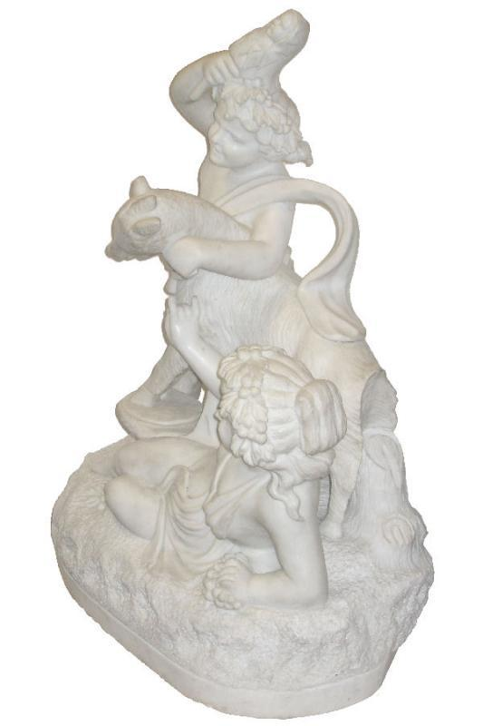 Antique Bacchanalian Group Marble Sculpture After Clodion