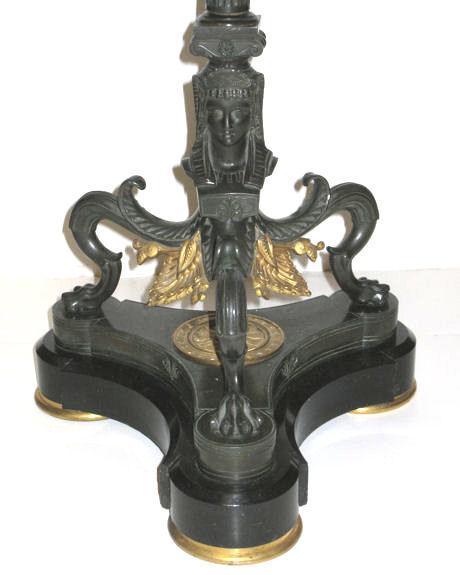 Antique Empire Style Egyptian Revival Bronze & Slate Stone Gueridon Side Table