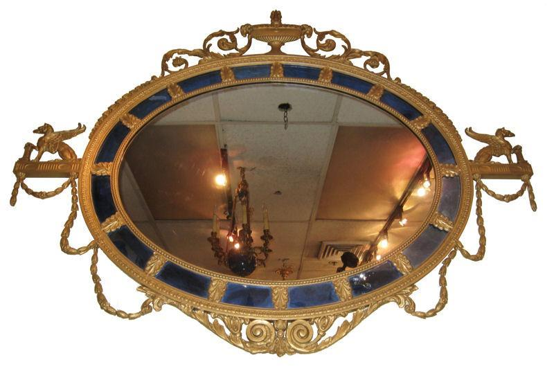 Antique Neoclassical Adams Style Overmantel Mirror