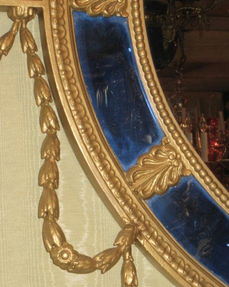 Antique Neoclassical Adams Style Overmantel Mirror