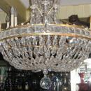 Antique French Empire Style Bronze Crystal Chandelier