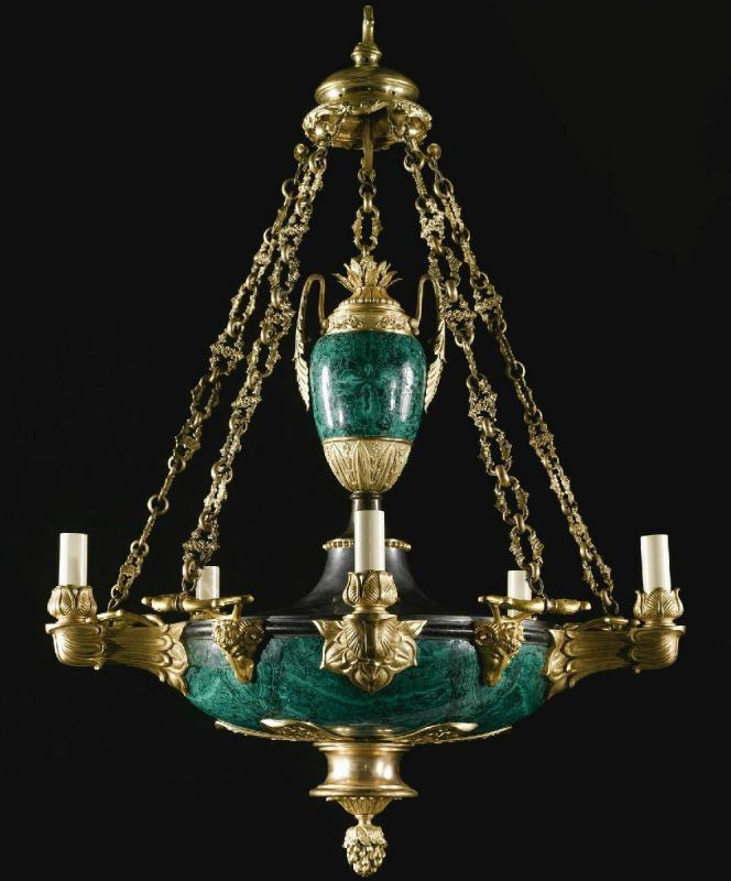 Antique Russian Ormolu Bronze and Malachite Chandelier