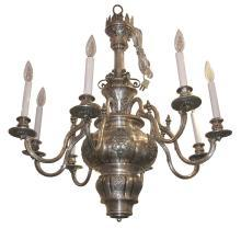 Antique EF Caldwell Greek Revival Silvered Metal Classical Chandelier