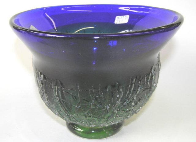 Kosta Blue Green Goran Warff Glass Bowl