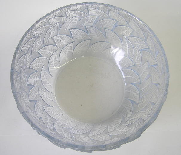 Lalique Centerpiece Bowl with Raised Leaf