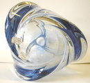 Val St Lambert Blue-to-Clear Glass Vase