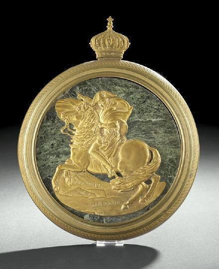 Napoleon Crossing the Alps Antique Bronze & Marble Plaque
