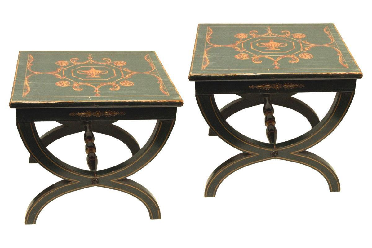 Pair Vintage Neoclassical Painted Low Side Tables or Stools