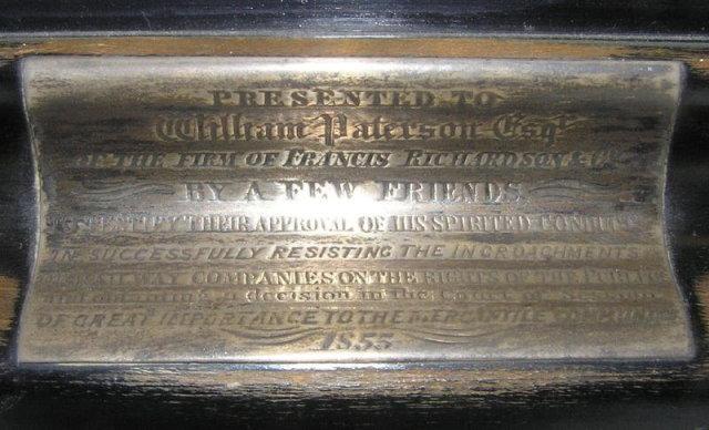 Antique Bronze & Marble Dedication Mantle Clock