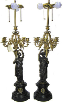 Pair Gilt Bronze Neo-Classical Candelabra Lamps