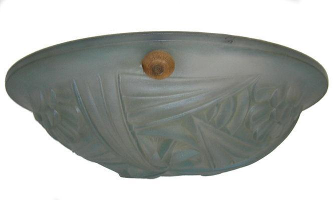 Degue French Art Deco Glass Plafonnier Coupe Lamp Chandelier