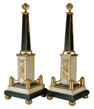 Pair Antique French Louis XVI Ormolu Bronze & Marble Obelisks