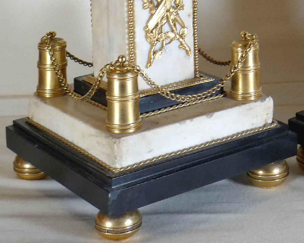 Pair Antique French Louis XVI Ormolu Bronze & Marble Obelisks