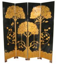 Paul Feher Art Deco Ebonized & Parcel Gilt Screen Room Divider