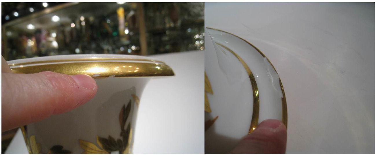 Pair Antique Sevres Napoleonic Empire Period Gilt Porcelain Campana Vases