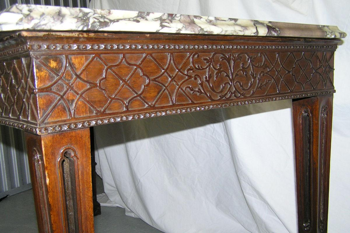Antique Gothic Revival Marble Top Mahogany Center Table