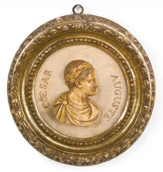 (3) Antique Roman Emperor Caesar Hardstone & Giltwood Plaques