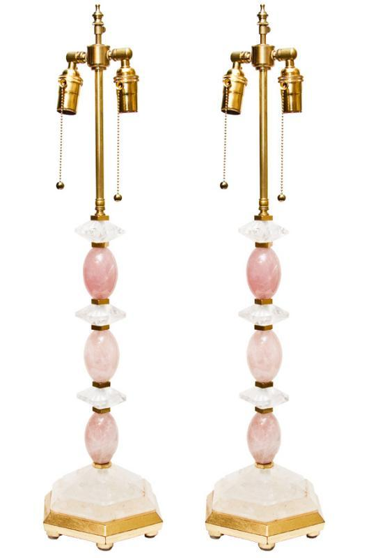 Pair Rock Crystal & Rose Quartz Gilded Table Lamps
