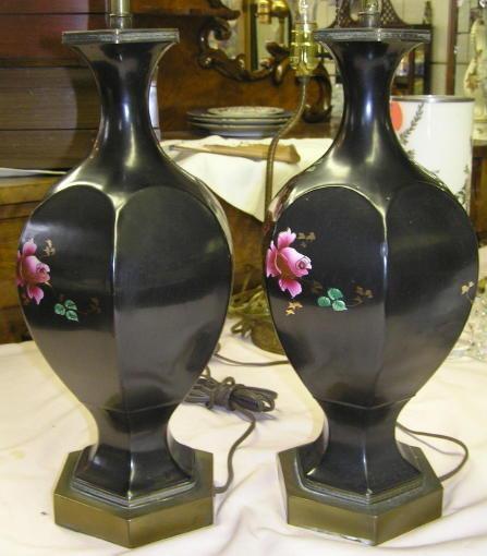 Pair Rose Painted Ceramic Table Lamps
